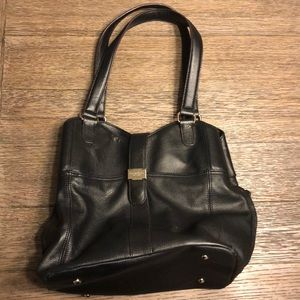 Tignanello Genuine Leather Black Bucket Bag.
